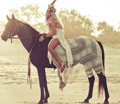 Boho chic lacy dress with modern hippie feather headband on her pretty horse. FOLLOW this board now > http://www.pinterest.com/happygolicky/the-best-boho-chic-fashion-bohemian-jewelry-gypsy-/ for the BEST Bohemian fashion trends for 2015.