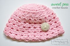 Free Crochet Pattern for a Sweet Pea Beanie via My Merry Messy Life