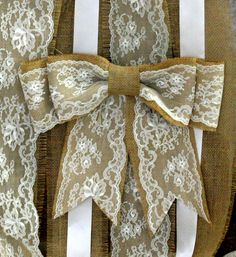 Burlap pew bows, burlap wedding decor, shabby chic, country chic, rustic chic, French country, cottage chic wedding,. $13,00, via Etsy.