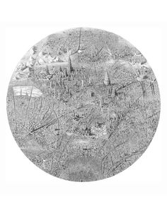 Detailed pen drawings of fictitious cities. Made with a 0.5 Staedler pigment liner and a lot of free time by Ben Sack.