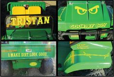 Kid's John Deere Gator decorated with decals from www.DecalJunky.com Santa Claus did a great job decorating this toy for a special little boy!  #christmas #craft #stickers #gator #country