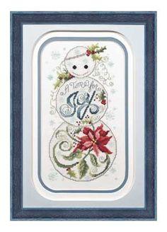 Joy Snowman, counted cross-stitch