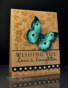 handmade card on kraft: Whishing You Love by maropeusa, via Flickr  ... like the brown stamping on kraft with the monochromatic background ... luv how gorgeous the Hero Arts digi butterfly looks in shimmery tourquoise, green and black ...