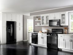 black appliances, white/light grey cabinets and darker grey walls : All I want but with my Stainless Steel Appliances! Pretty!!
