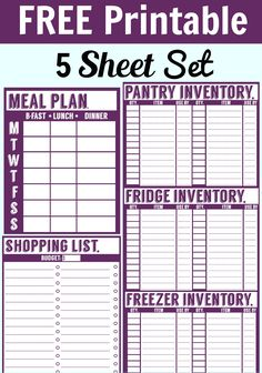 Free 5 Sheet Printable Set. Includes a menu planner, shopping list, pantry inventory sheet, freezer inventory sheet, and fridge inventory sheet.