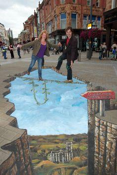 3D chalk pavement art by Joe and Max