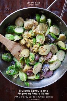 Brussels Sprout Salad with Fingerling Potatoes, Caraway Seeds and Juniper Berries. Easy, made from scratch recipe from Irvin of Eat the Love.