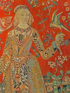 This is a detail from the 15th century Flemish set of tapestries depicting the senses, The Lady and the Unicorn. This one represents Taste.    The lady in question is most probably Blanche of Lancaster, daughter of John of Gaunt (son of Edward III and so on)