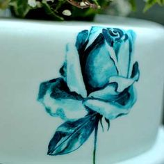 MurrayMe Hand Painted Blue Roses Cake