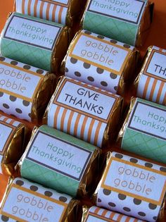 Thanksgiving printable mini chocolate bar/candy wrappers