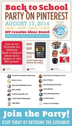 Back to School Pinterest Party {Awesome Prizes!!} - Join us for tons of great ideas for school and amazing prizes!!  EverythingEtsy.com #pinterestparty