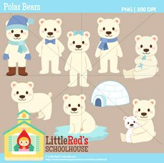 Clip Art: Polar Bears- Winter theme clipart