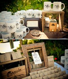 dinner, buffet, wedding favors, coffee beans, coffee cups, brunch, tea, winter weddings, destination weddings