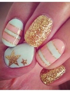 pretty pastel nails with a pop of sparkle {love} pastel, gold nails, color, pink nails, star, nail arts, glitter nails, white gold, stripe