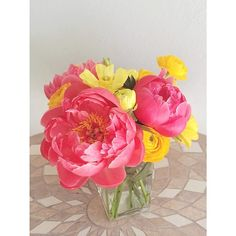 Another view of pink-peonies-with-yellow arrangement