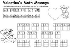 Valentine's Day Addition Math Message from Kaboose addit math, valentine day, grade valentin