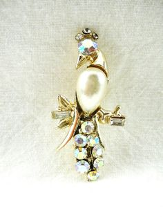 Vintage Figural Parrot Brooch with Faux Pearl by GreenDesertArt, $10.00