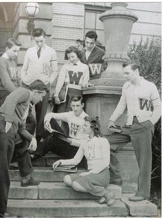 A terrific selection of 1950s letterman sweaters sported by students at Warren G. Harding High School students, Warren, Ohio. #vintage #students #school #1950s