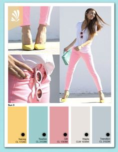 Pink, Teal and Yellow