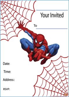 Free Printable Spiderman Party Invitations on www.thepartywebsite.com