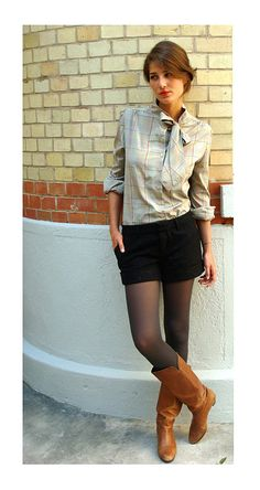 #look  #buttonup  #bow  #shorts  #tights  #boots