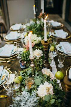 Blush and Sage Banquet Tablescape