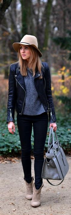 sweater, leather jacket, black pants, hat, booties