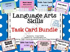 Language Arts Skills Task Card BUNDLE from I Heart ESOL  on TeachersNotebook.com -  (73 pages)  - Language Arts Skills Task Card Bundle This task card bundle contains 8 sets of task cards which are sold individually in my shop. Recording sheets are also included.  Please preview the sets individually to see more. These task cards are best suited for 2