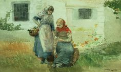 Picking Flowers 1881 by Winslow Homer