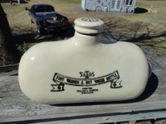 Early Stoneware Advertising Hot Water Bottle and Foot Warmer | eBay