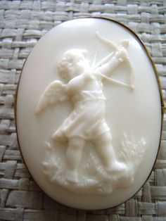 Victorian Cupid Cameo Pin/  Glass Brooch/ Brass Antique Cameo 1890s-1900.