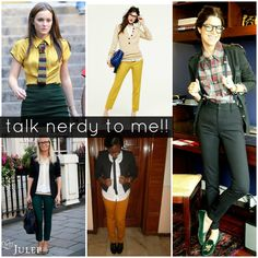 Talk nerdy to me! Cute business attire that's a little more artsy/fun! geekchic, nerd herd, style, cloth, outfit, fashion idea, geeks, fashion inspir, geek chic