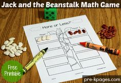 Free Printable Math Activity for Jack and the Beanstalk #preschool #kindergarten