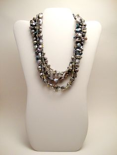 Silver Freshwater Pearl Necklace, Multi Strand Statement Necklace, Silver Seed Beads. $110.00, via Etsy.