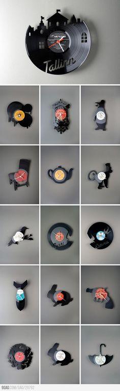 Clocks made from Vinyl Records