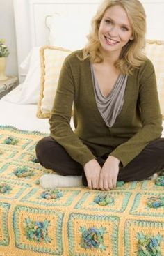 free Country Floral Throw crochet pattern