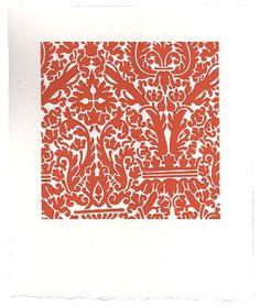 Sara Eichner-'red interior wallpaper'-Sears-Peyton Gallery