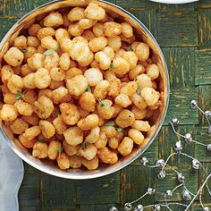 Fried Hominy | Serve on a pretty cutting board with a cheese knife, and let guests cut their own portions.