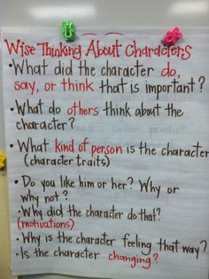 Wise thinking about characters anchor chart.
