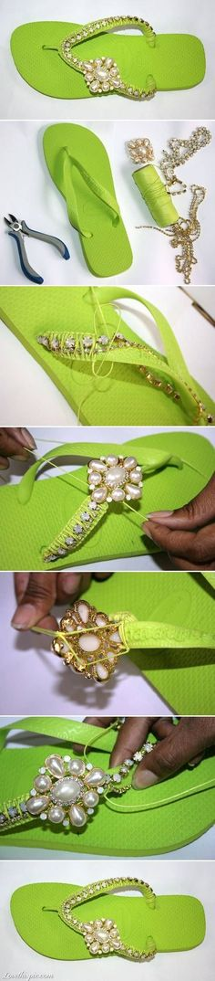 DIY Flip Flops. Fun  Easy concept. Great way to use costume jewelry or even things you find at a thrift shop.