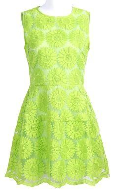 Green Sunflower Embroidered Dress.
