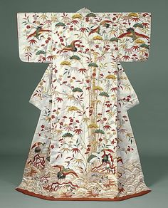 "Silk 'uchikake' (wedding over-kimono robe), featuring depictions of Mount Horai. 1750-1850, Japan. ""Silk and metallic thread embroidery on s..."