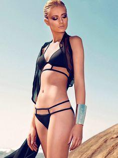 Black Triangle Top with Strappy Bottom Bikini