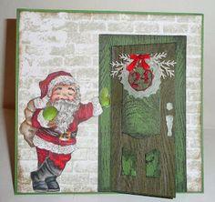 Nadjas Stempelkreationen: Pop´n- cuts- Santa at the door/ Der Weihnachtsmann steht vor der Tür