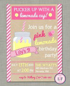 Pink lemonade birthday party invitation printable-mason jar invitation- girl birthday party invitation- rustic burlap invitation. $10.00, via Etsy.