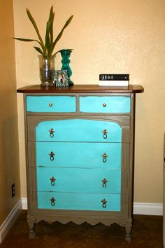 MakeMePrettyAgain: Coco and Aqua Upcycled Dresser FEATURED Love it!