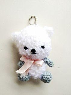 White teddy crochet  keychain on Etsy, £6.00