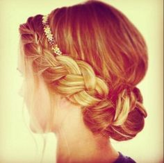 Cool braided 'do with a sparkly headband