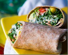 Raw vegan kale wrap with miso dressing