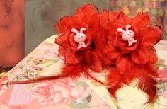 Pink Bunny Rockabilly Flower Harajuku Set Kawaii by FilthyCoffin, $7.00